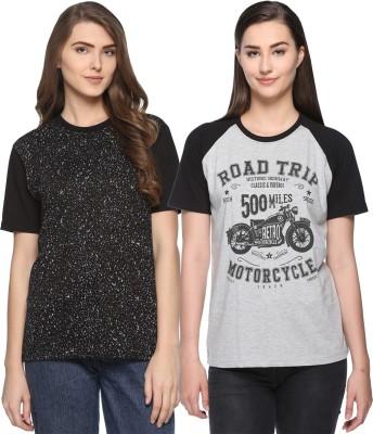 WEBCLOTHING Printed Women Round Neck Grey, Black T-Shirt(Pack of 2) Flipkart