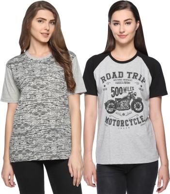 WEBCLOTHING Printed Women Round Neck Grey, Grey T-Shirt(Pack of 2) Flipkart