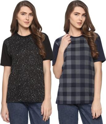 WEBCLOTHING Printed Women Round Neck Dark Blue, Black T-Shirt(Pack of 2) Flipkart