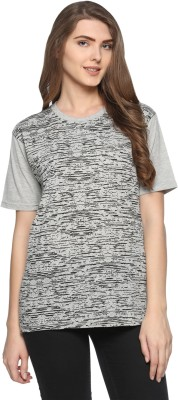 69GAL Printed Women Round Neck Grey T-Shirt