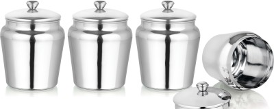 Aagam  - 750 ml Stainless Steel Grocery Container, Fridge Container, Oil Container, Utility Box, Tea Coffee & Sugar Container, Spice Container, Pickle Container & Salt Pepper Container(Pack of 4, Steel)