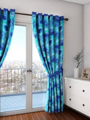 Swayam Cotton Turquoise Floral Eyelet Door Curtain