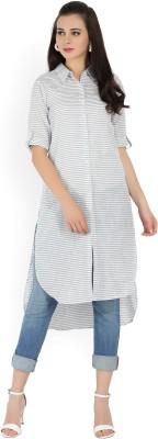 Melange by Lifestyle Striped Women Straight Kurta(White)