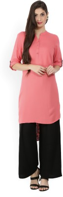 Melange by Lifestyle Women Solid Straight Kurta(Pink)