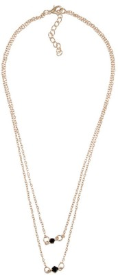 stylefiestafashion Black Bead Dainty Necklace Beads Yellow Gold Plated Alloy Necklace  available at flipkart for Rs.199
