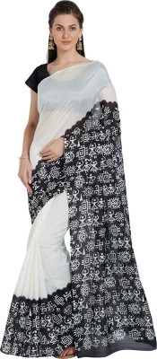 Oomph! Geometric Print Fashion Silk Saree(White)