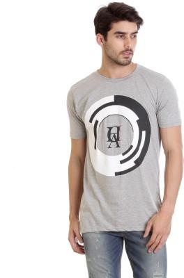 Hillisi Gare Printed Men Round Neck Grey T-Shirt