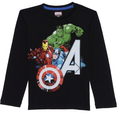 Avenger Boy's Graphic Print Cotton T Shirt(Black, Pack of 1)