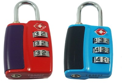 DOCOSS Set Of 2-TSA-552- Approved 3 Digit USA Number Resettable luggage Bag Password Padlock For Travelling International Safety Lock(Multicolor)  available at flipkart for Rs.809
