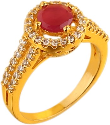 Sri Shringarr Fashion Fancy Micro Gold Polished Brass Cubic Zirconia Yellow Gold Plated Ring