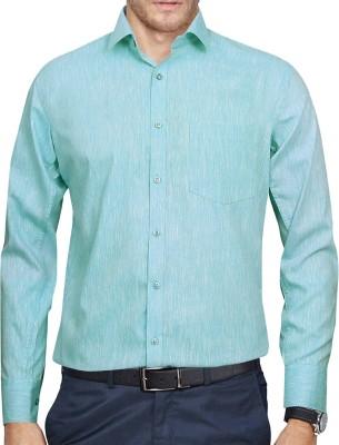 Lamando Men's Solid Formal Green Shirt