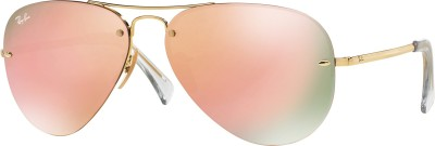Ray-Ban Aviator Sunglasses(Pink) at flipkart