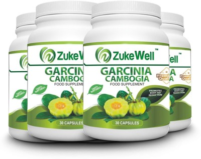 zukewell Garcinia Cambogia Extract 500 mg (60% HCA)Fat Burner Capsule-30 Pure Veg Capsules Pack of 4(500 mg)