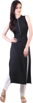 Fashionyari Women Self Design, Solid Straight Kurta(Yellow)