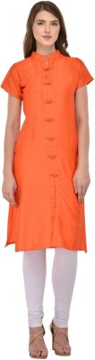 Saara Women Solid, Self Design Straight Kurta(Orange)