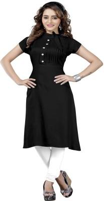 Fashion Surat Festive & Party Solid Women's Kurti(Black)