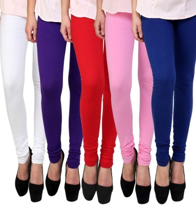 Shopwhizz Style Women's Cotton Lycra Leggings Combo-Pack of 5 Free Size Churidar  Legging(Multicolor, Solid)