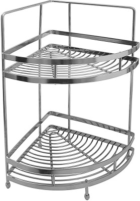 Klaxon Double Corner Shelf Stainless Steel Kitchen Rack(Silver) at flipkart