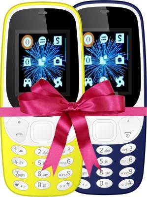 I Kall K3310 Combo Of Two Mobile(Yellow, Dark Blue)