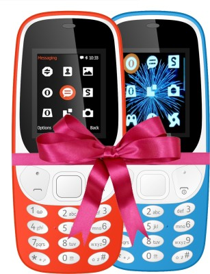 I Kall K3310 Combo Of Two Mobile(Red, Light Blue)
