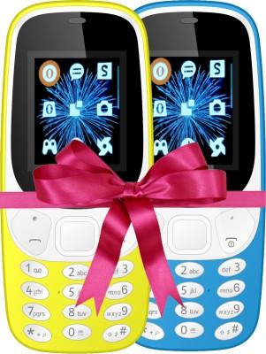 I Kall K3310 Combo Of Two Mobile(Yellow, Light Blue)