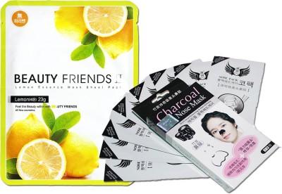 Beauty Friends Lemon Essence Sheet Mask withBlackhead/Whitehead Removing Strips (Economic Value Pack of 10 + 1)(Set of 11)