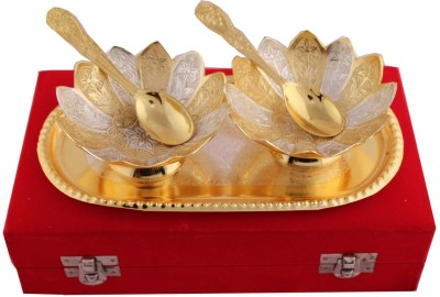 Jaipur Trade Silver and Gold Plated Kamal Bowl Set Pack of 5 Dinner Set(Silver Plated) at flipkart