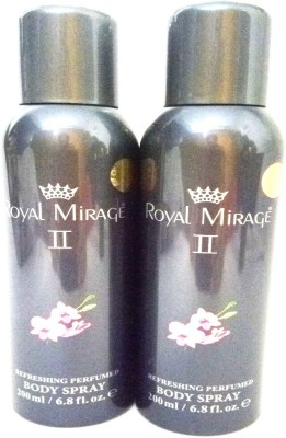 Royal Mirage II Body Spray  -  For Men & Women(400 ml, Pack of 2) Flipkart