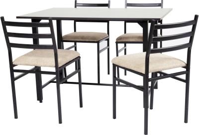 FurnitureKraft Metal 4 Seater Dining Set(Finish Color - Black)