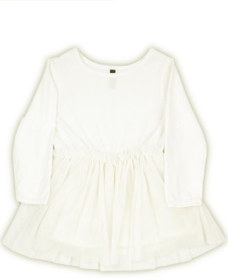 United Colors of Benetton. Girls Midi/Knee Length Casual Dress(White, Full Sleeve) at flipkart