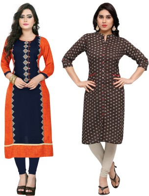 Vbuyz Festive & Party Embroidered, Printed Women Kurti(Pack of 2, Multicolor, Brown)