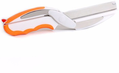 wishpool Clever Cutter 2 In 1 Multi-Function Kitchen Scissors Cutter Knife&Board Stainless Steel Vegetable Cutter Chopper(Orange)  available at flipkart for Rs.299