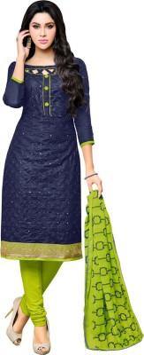 Ratnavati Cotton Blend Embroidered Salwar Suit Material(Unstitched) at flipkart