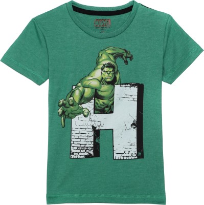 Avenger Boy's Graphic Print Cotton Polyester Blend T Shirt(Green, Pack of 1)