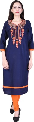 The Style Story Embroidered Women Straight Kurta(Red)