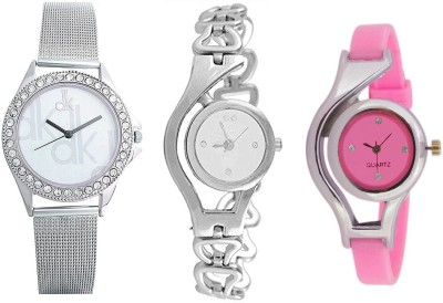 keepkart Glory Chain Pink Pu Strap And Dk Sefar Chain Watches Combo PAck Of - 3 For woman And Girls Watch  - For Girls