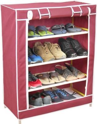 CDI 4 SHELVES SHOE CABINET Plastic Collapsible Shoe Stand(Maroon, 4 Shelves)