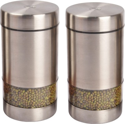 JVL Magic Twister Canister  - 900 ml Steel Grocery Container(Pack of 2, Steel)  available at flipkart for Rs.900