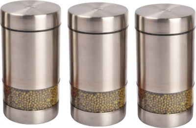 JVL Magic Twister Canister  - 900 ml Steel Grocery Container(Pack of 3, Steel)  available at flipkart for Rs.1250