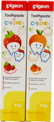Pigeon Combo of Strawberry and Orange toothpaste 45g*2(Pack of 2) Toothpaste(90 g)