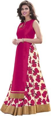 beelee typs Art Silk Floral Print Semi-stitched Lehenga Choli Material