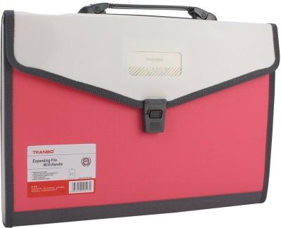 TRANBO Plastic File Folder with 13 Pockets, Handle, Index Tab, FC Size, Pink(Set Of 1, Pink)