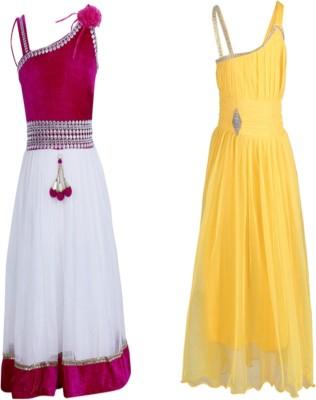 Qeboo Girls Midi/Knee Length Casual Dress(Multicolor, Sleeveless)