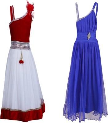 Crazeis Girls Midi/Knee Length Party Dress(Pink, Sleeveless)