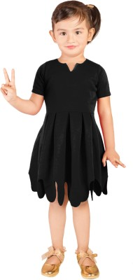 Addyvero Girls Midi/Knee Length Casual Dress(Black, Half Sleeve)