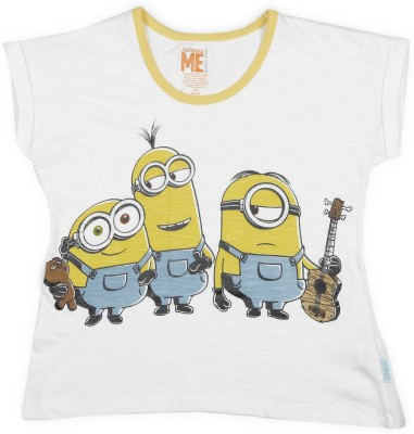 Minions Boy's & Girl's Graphic Print Cotton T Shirt(White, Pack of 1)