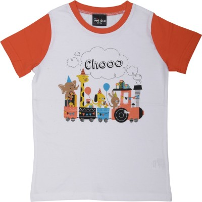 Ventra Boys Printed Cotton T Shirt(Orange, Pack of 1)