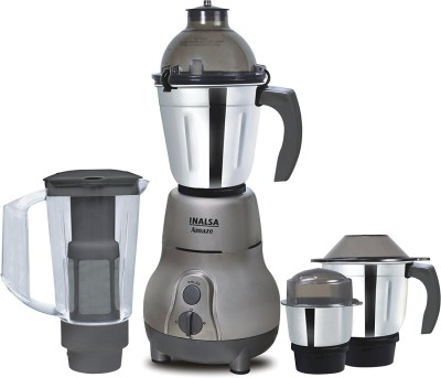 Inalsa Amaze 4 Jars Amaze With 4 Jars (Grey) 750 W 450 W Mixer Grinder(Grey, 4 Jars)
