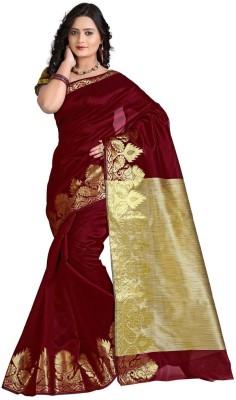 VASTRAKALA Solid Banarasi Cotton Blend Saree Maroon