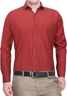 Lamando Men's Solid Formal Maroon Shirt